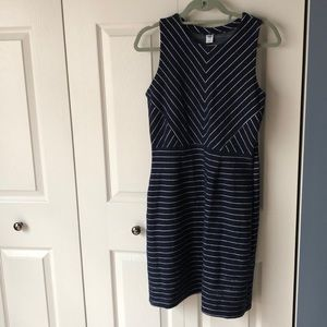 Old Navy navy and white striped sheath dress, M